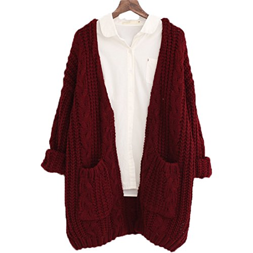 FCYOSO Women's Twist Pockets School Wear Sweater Loose Long Knit Cardigan One Size Red (Sahalie Cardigan)