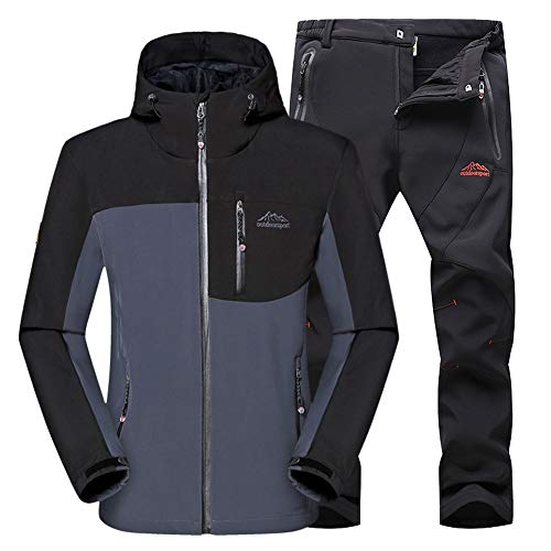 Gris Montaña Montaña Transpirables Outdoor Hombre Pantalones Conjunto Softshell negro Chaqueta Pantalon Chaqueta WANPUL Softshell qUySzW7