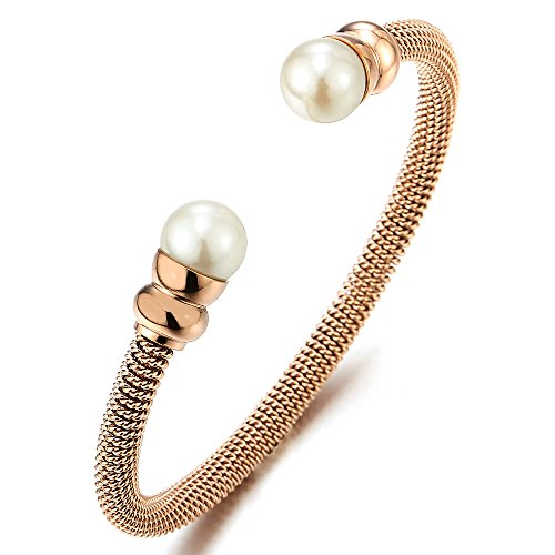 omen Girls Stainless Steel Rose Gold Cable Cuff Bangle Bracelet with White Pearl (White Gold Cable Bracelet)