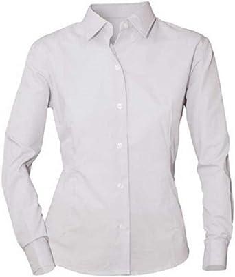 NORVIL Camisa de Mujer de Manga Larga Blanca con Cuello Camisero: Amazon.es: Ropa y accesorios
