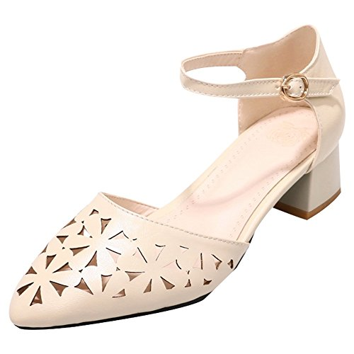 Charm Foot Womens Pointed Toe Chunky Ankle Strap DOrsay Shoes Apricot oYWqp83l1