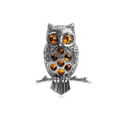 ling Silver Owl Brooch Pin ()