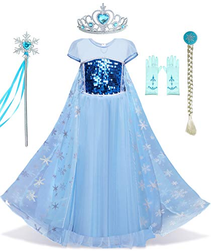 Eshiree Girls Princess Elsa Costume Snow Queen Sequin