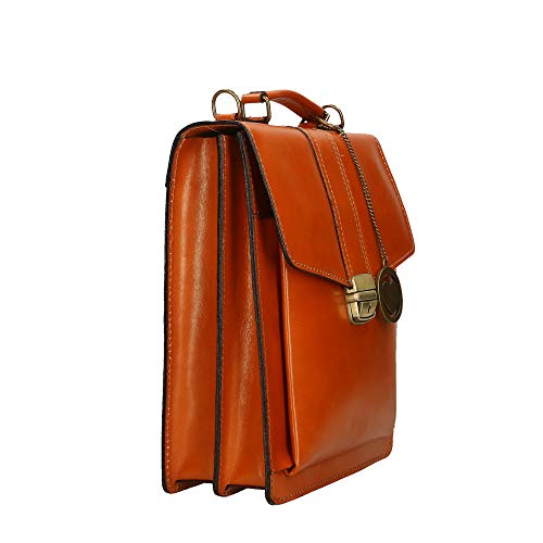Italy Genuine Leather Small Shoulder Tan Chicca Made Cm Briefcase Organizer In Borse Bag 27x32x10 q8v0vnx1