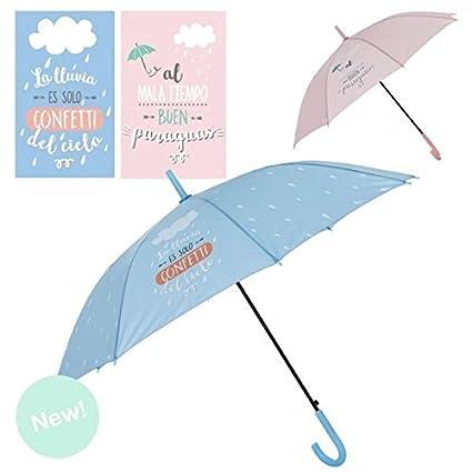 "Dcasa - Paraguas largo color frase divertido "" LLUVIA"" ..."