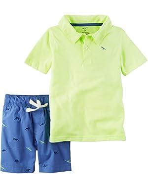 Carter's Baby Boys' Polo And Dino Shorts Set