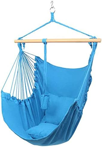 TANTIKC Hammock Chair,Cotton Canvas Hanging Rope Chair with Pillows for Any Indoor Or Outdoor Spaces Pure Blue