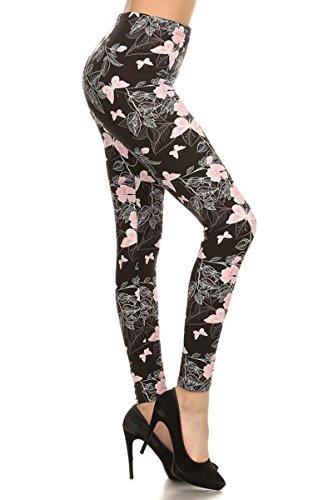 R560-PLUS Pink Butterflies Print Fashion - Leggings Piece Elastic 3 Waist