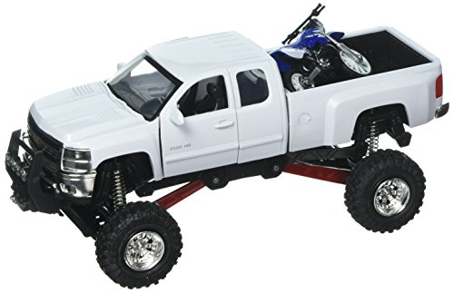 NewRay 1:32 Xtreme Off-Road - Chevrolet Silverado 2500HD (White) with Yamaha YZ 125 (Chevy Silverado Model Truck)