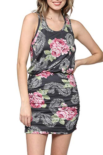 (LaClef Women's Mini Ruched Tank Shift Dress (Charcoal Floral, S))