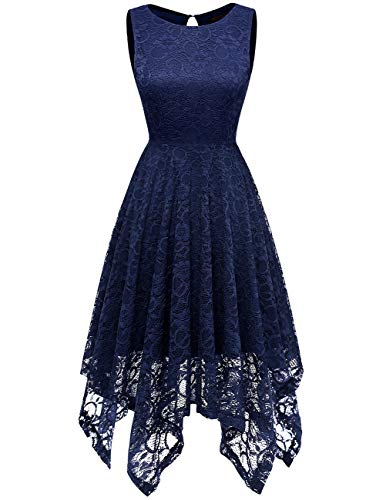 DRESSTELLS Women's Cocktail Floral Lace Handkerchief Hem Bridesmaid Wedding Gown Navy -