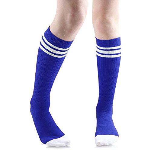 Baby, Toddler & Kids Knee High Tube Socks For Boys & Girls With Grips (4-6 Years (Shoe Size 9C-1), Blue/White)
