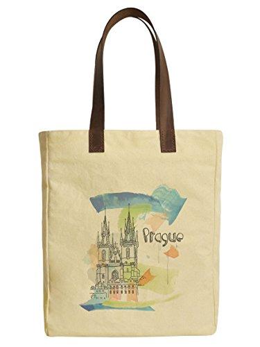 Prague-2 Beige Printed Canvas Tote Bags Leather Handles WAS_30 (Prague Leather Handbag)