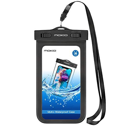 MoKo Waterproof Cell Phone Bag, Underwater Cellphone Case Pouch Dry Bag with Armband & Lanyard Compatible with iPhone X/Xs/Xr, 8/7/6s Plus, Samsung Galaxy Note 8, S9/S8 Plus, S7 Edge, S6 - Black