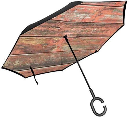オールドバーンウッド ユニセックス二重層防水ストレート傘車逆折りたたみ傘C形ハンドル付き