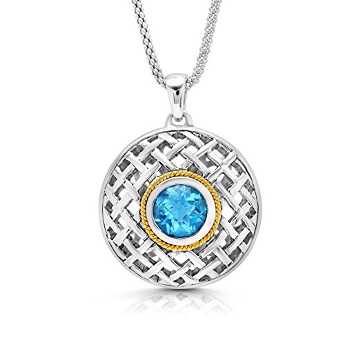 Swiss Cut Yellow Pendant (Sterling Silver with 14k Yellow Gold Textured Swiss Blue Topaz Pendant Necklace, 18
