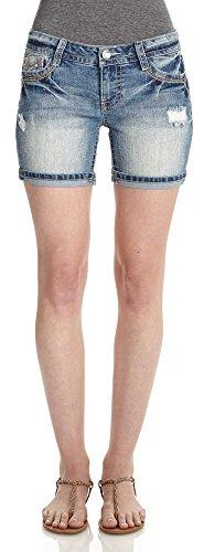 WallFlower Juniors Destructed Heavy Stitch Denim Shorts in Hayden Size: 5