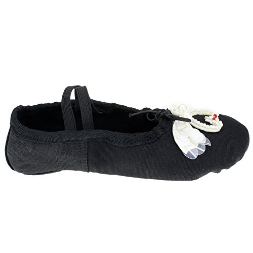 ... Lerret Ballet Flat Split-såle Såle Med Svart Svane ...