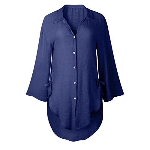 Longues en Casual Marine Chemisier Chemise Shirt T Coton Occasionnelles Manches Shirt Vrac Femmes t Shirt Chemisier Mode Femme JIANGfu qBXvwgw