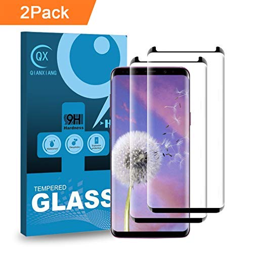QIANXIANG Screen Protector,[2 Pack][9H Hardness][Anti-Fingerprint][Anti-Scratch] Tempered Glass Screen Protector Compatible Samsung Galaxy S9 Plus