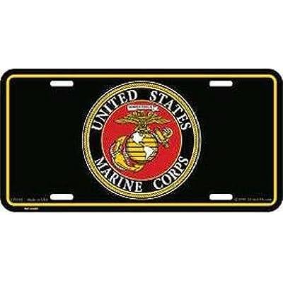 EagleEmblems United States Marine Corps License Plate (Black): Automotive