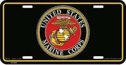 United States Marine Corps License Plate (Black) - Marines License Plate