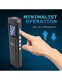 Grabadora de voz digital   Grabadora de voz de audio activada de 16 GB recargable, Dictáfono portátil de 1536 Kbps, reproductor de MP3 para conferencias, reuniones, entrevistas, clase (16 GB)