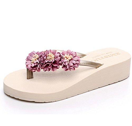 DANDANJIE Chancletas de Mujer Flores Lindas Zapatos de Playa refrescantes de Verano Zapatillas Antideslizantes Cool Zapatillas de Moda Cómodamente Zapatillas de Compras Zapatos caseros Beige