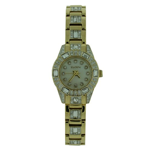 Elgin Gold Watch - Elgin Watch Ladies Gold Tone Ausrtian Crystals Mother of Pearl Dial EG1510 SALE
