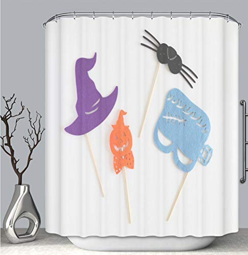 BEICICI Color Shower Curtain, Photo Booth Colorful Props for Halloween Party Witch hat Monster Shaped mask Multi-Color,Custom Shower Curtain Bathtub Bathroom Accessories.