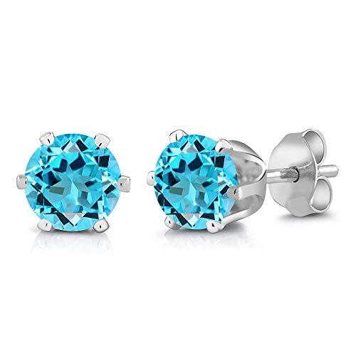Gem Stone King 3.00 Ct 7mm Round Blue Topaz 925 Sterling Silver Stud Earrings