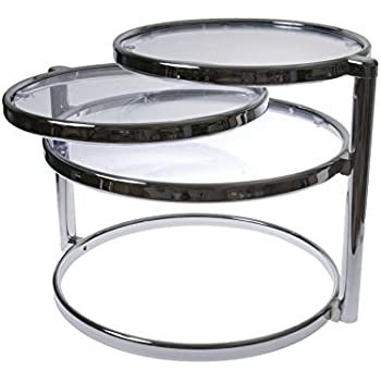 Amazon Com Present Time Leitmotiv Double Swivel Glass Table Chrome Kitchen Amp Dining