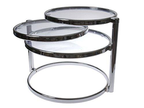 - Present Time Leitmotiv Double Swivel Glass Table, Chrome