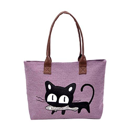 mujer hombro bolso - SODIAL(R) nuevo moda mujer bolsa de hombro lona lindo gato bolso oficina bolsa del almuerzo (rojo) purpura