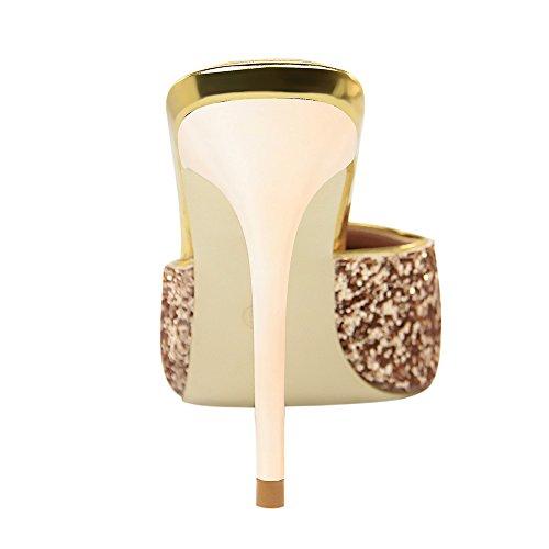 MissSaSa Femmes Pointu Bout Mules Champagne Fwfz4qRFr