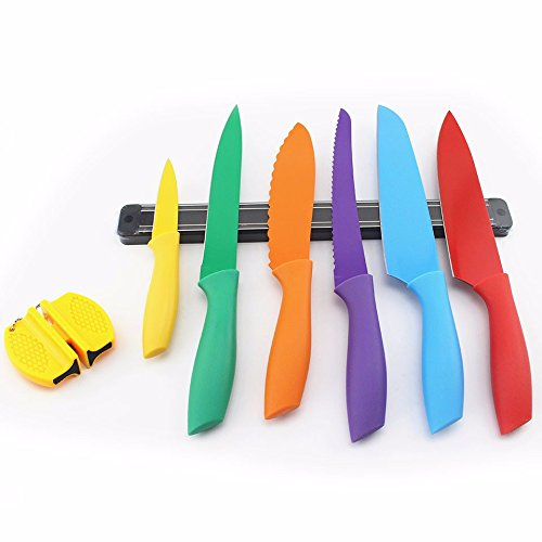 Color Knife Set Stainless Steel Bread Carving Chef Sandwich Santoku Paring Holder Sharpener