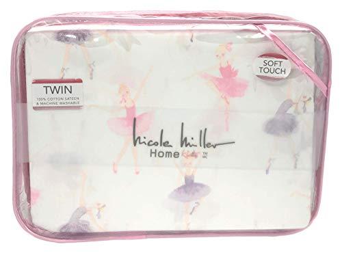 Nicole Miller Home Kids Pastel Ballerina Sheet Set, Twin Size