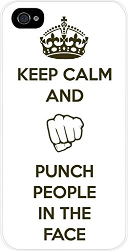 Keep Calm and Punch People in the Face - Iphone 5 plastic white case - compatible with Iphone 5 5s (NOT 5C) ()