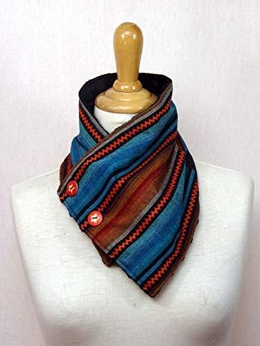 écharpe col boutonnée à rayures oranges et bleues tissu style péruvien