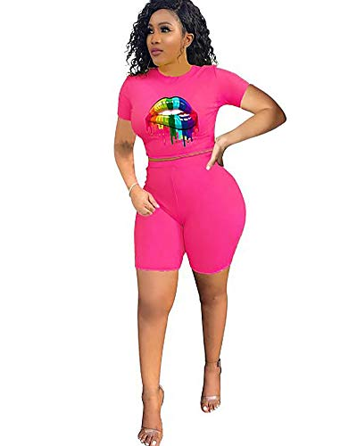 2a538ed2541 Halfword Womens Bodycon Two Piece Outfits - Sexy Clubwear Shorts Set  Jumpsuits Rompers Pink