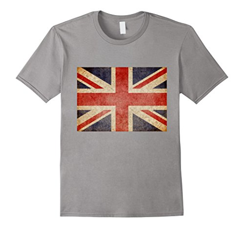 British Flag Colors (Mens Union Jack T-shirt Vintage UK Flag Tee British Retro Flag XL Slate)