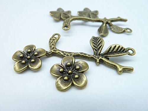 - 5pcs 34x53mm Antique Bronze Lovely Plum Blossom Flower Branch Connector Link ...