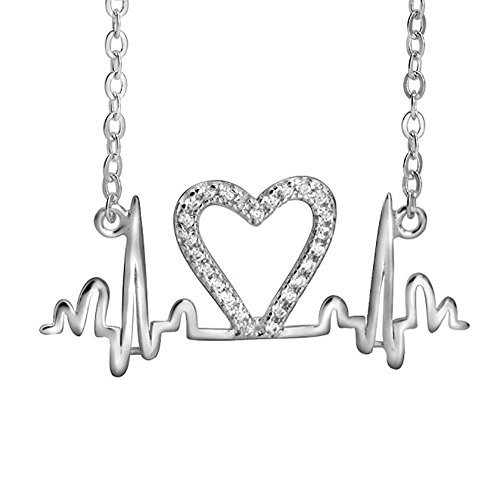 (925 Sterling Silver Heartbeat Lifeline Pulse CZ Pendant Charm Love Rhythm Necklace, Rolo Chain 18