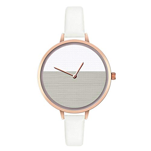 Roumin Women's Watch, Deluxe Feature Watch, Exquisite Two-Color Dial, Casual Watch(White)