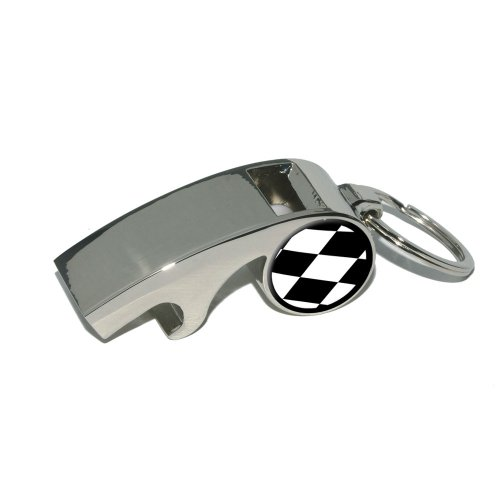 Auto Racing Checkered Flag (Graphics and More Checkered Flag - Racing - Plated Metal Whistle Bottle Opener Keychain Key Ring)