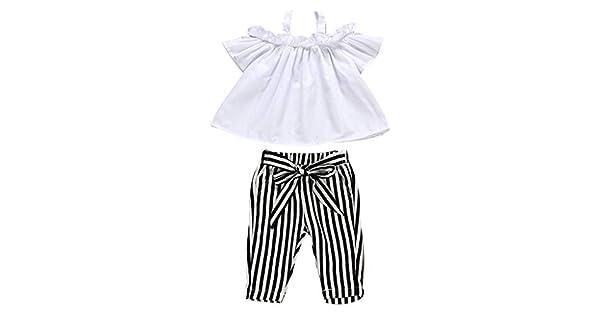 Amazon.com: Conjunto de ropa para bebé, camiseta de encaje ...