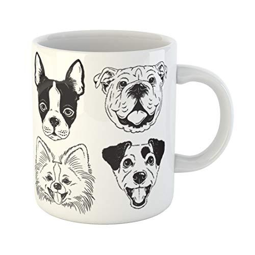 Semtomn Funny Coffee Mug Dog Faces Boston Terrier English Bulldog Toy Pomeranian 11 Oz Ceramic Coffee Mugs Tea Cup Best Gift Or ()