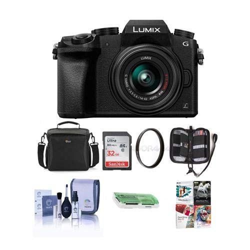 - Panasonic Lumix DMC-G7 Mirrorless Micro Four Thirds Camera with 14-42mm Lens, Black - Bundle with Camera Case, 32GB SDHC Card, Cleaning Kit, Memory Wallet, Card Reader, 46mm UV Filter, Software Pack