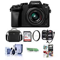 Adorama Panasonic Lumix DMC-G7 Mirrorless Micro Four Thirds Camera 14-42mm Lens, Black - Bundle Camera Case, 32GB SDHC Card, Cleaning Kit, Memory Wallet, Card Reader, 46mm UV Filter, Software Pack
