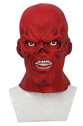 Red Skull Mask Deluxe Letax Halloween Cosplay Costume Accessory Xcoser (Red Skull Costume)